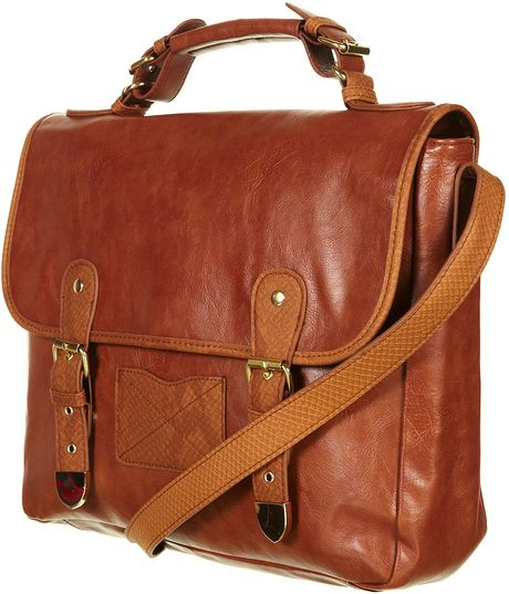 Topshop Retro Faux Snake Trim Satchel in Brown (tan)