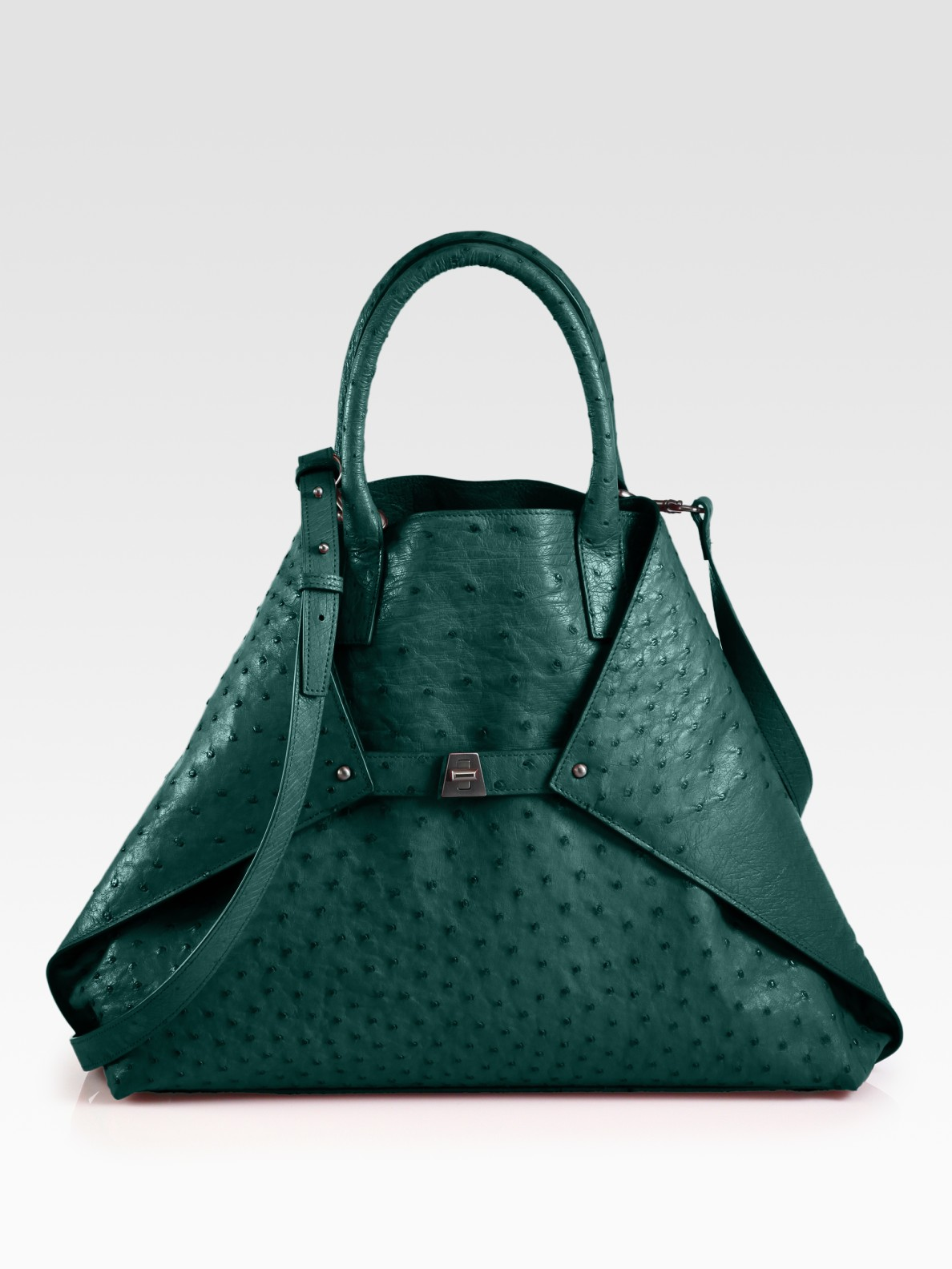 Lyst Akris Ai Medium Ostrich Stamped Leather Bag In Green