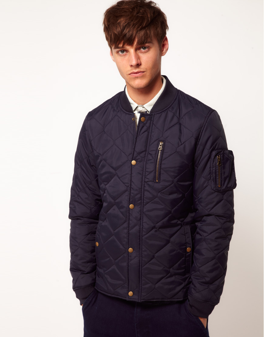 Asos Asos Bomber Jacket in Quilted Fabric in Blue for Men | Lyst