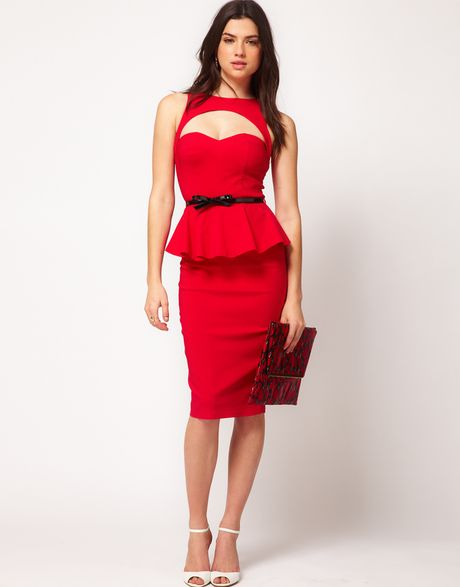 asos peplum dress with bow belt in lyst