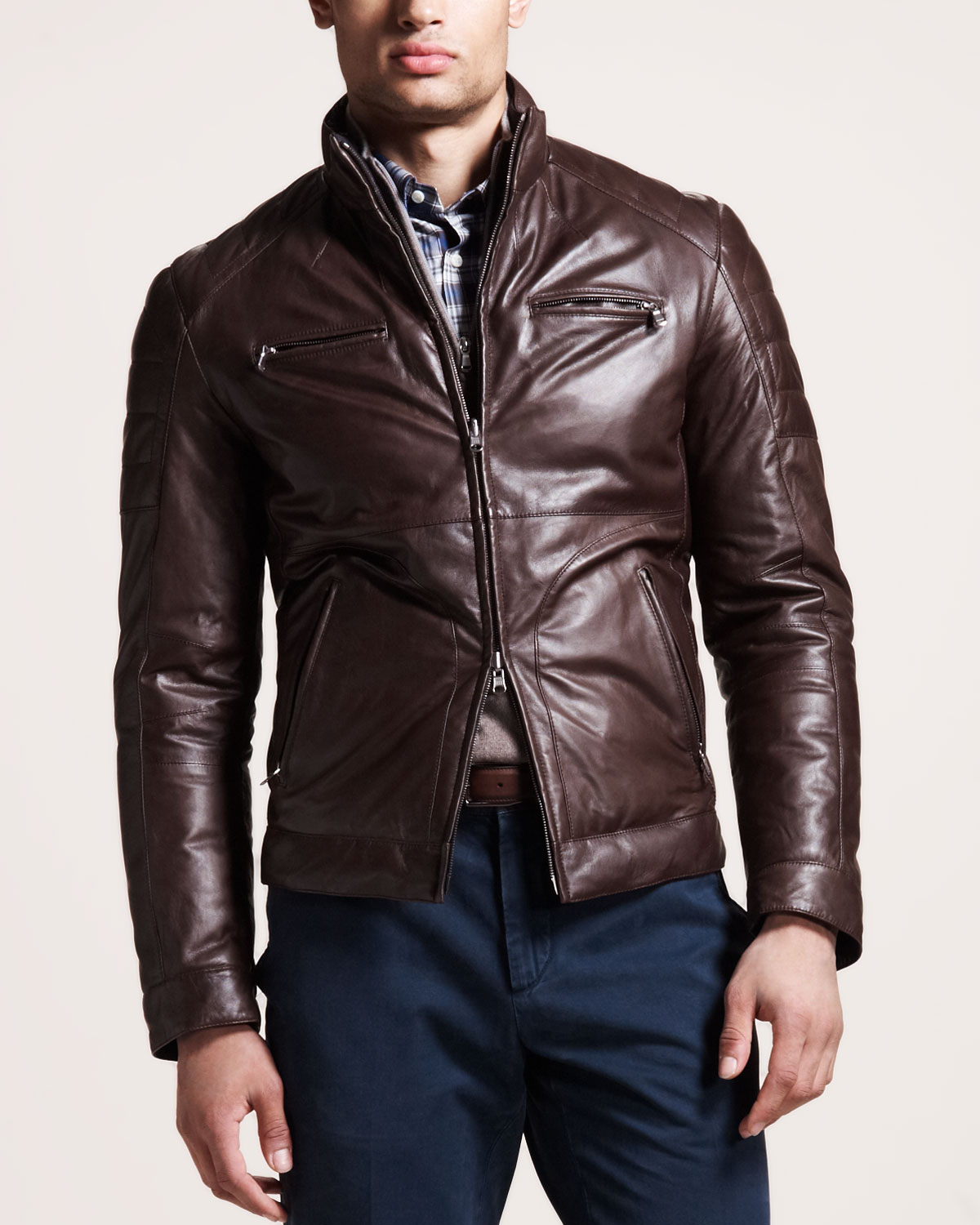 Brown Leather Motorcycle Jackets For Men Jacket To