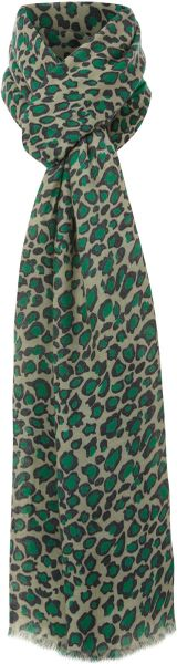 Linea Half Solid Half Leopard Print Scarf in Animal (green)