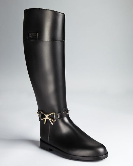 Moschino Cheap Amp Chic Rain Boots Bow Detail In Black Lyst