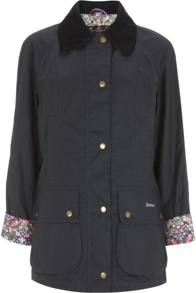 Barbour Navy Beadnell Strawberry Thief Liberty Print Wax