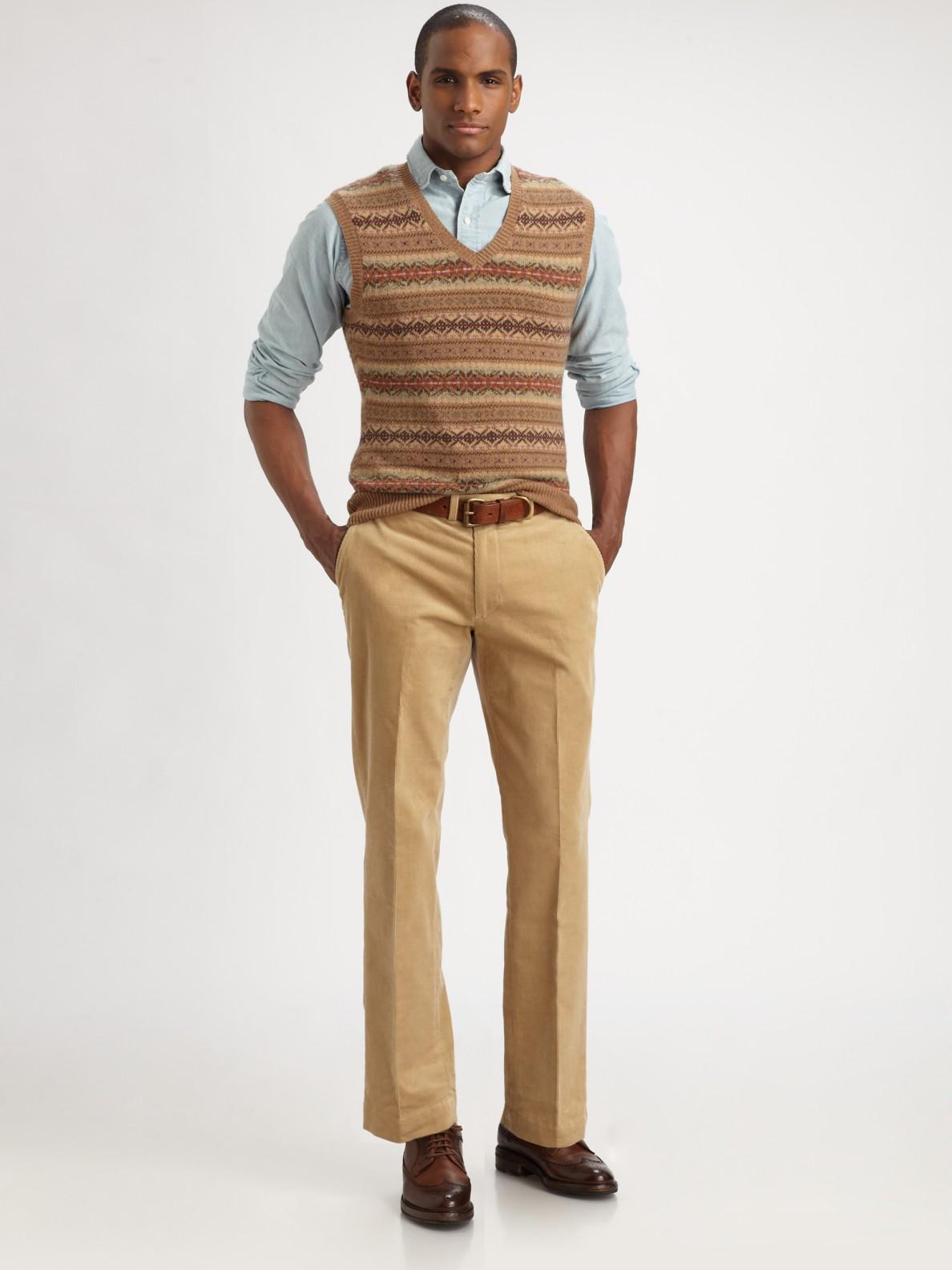 Polo Ralph Lauren Fair Isle Vneck Sweater Vest In Camel