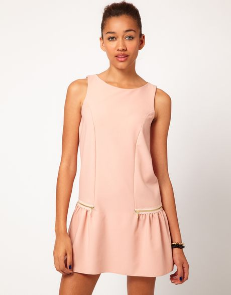 River Island Drop Waist Dress With Zips In Pink Lyst