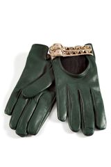 Valentino Royal Green Studded Driving Gloves