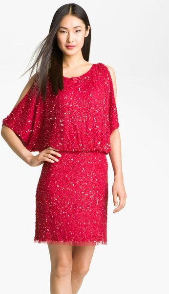 Aidan Mattox Cold-shoulder Sequin Shift Dress in Red