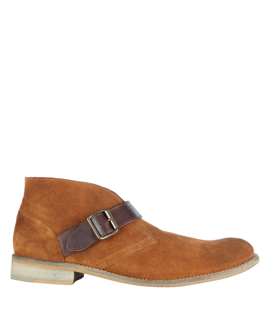 allsaints farrell buckle boot in brown for lyst