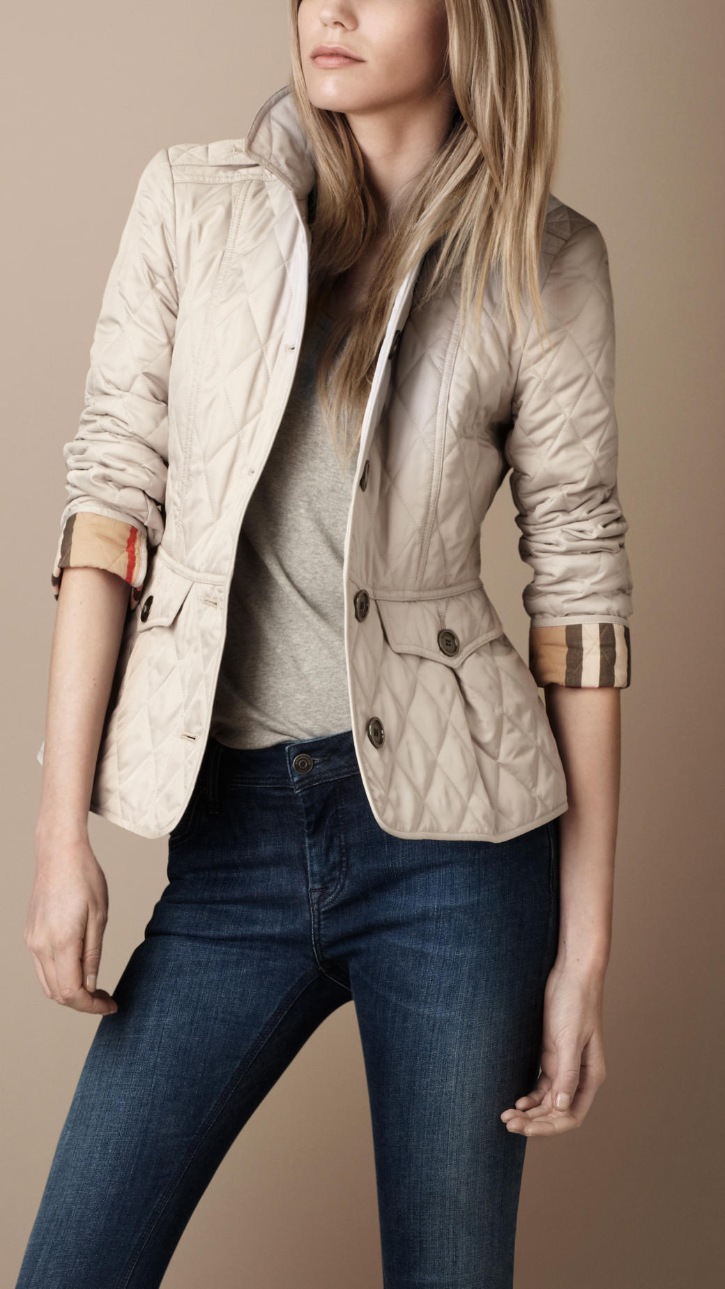 Burberry Brit Fitted Quilted Jacket In Natural Lyst