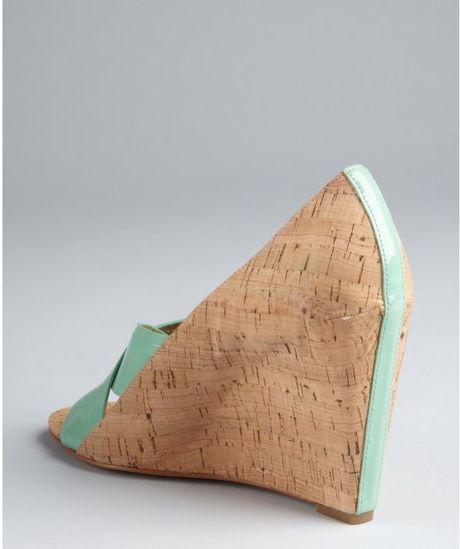 Diane Von Furstenberg  Patent and Cork Tafari Covered Wedges in Beige (mint) - Lyst