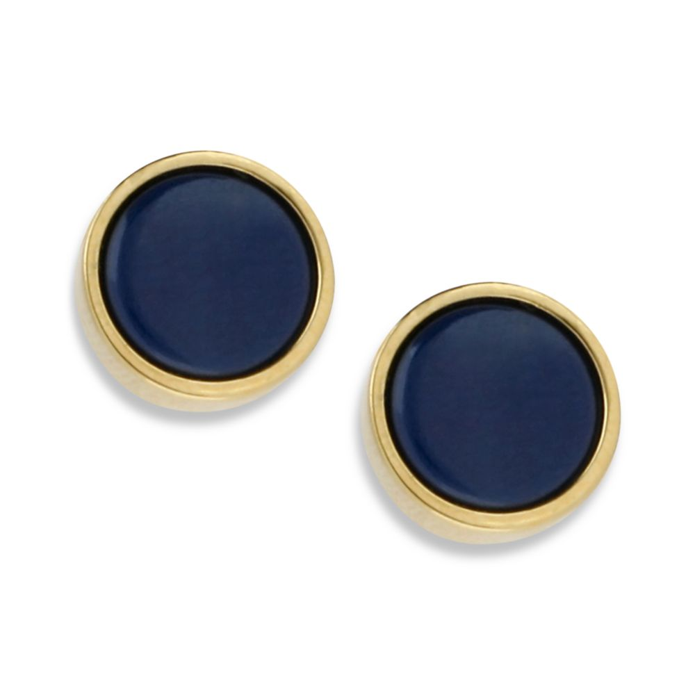 Gold Earrings Blue Stone Collection