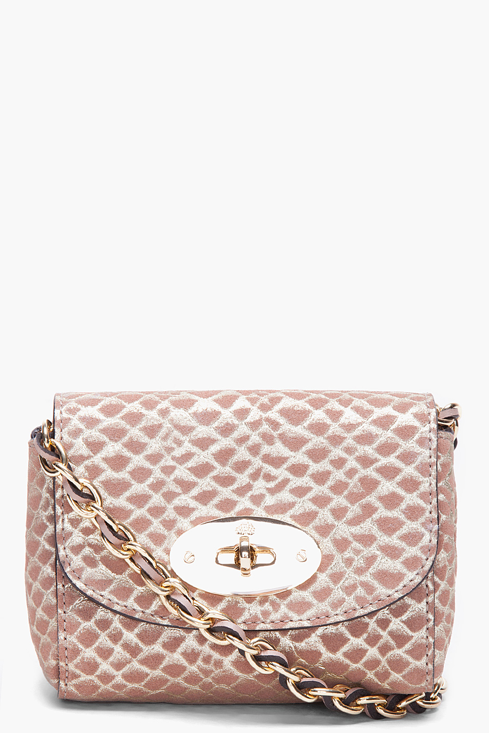 2138ec879bef ... official store lyst mulberry mini suede snake print lily bag in  metallic c2d8a 2d147
