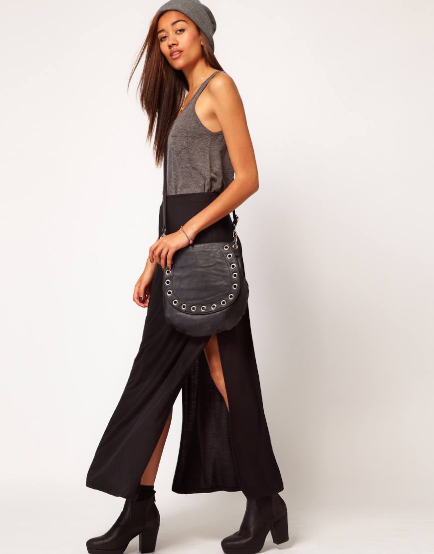River island Black Side Split Maxi Skirt in Black | Lyst