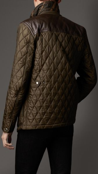Burberry Leather Panel Quilted Jacket In Green For Men
