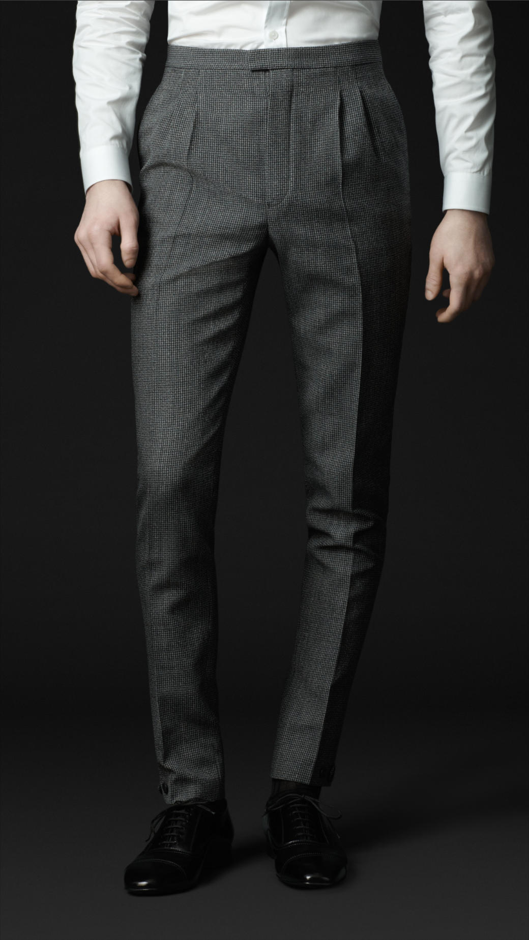 Burberry Prorsum Skinny Fit Houndstooth Trousers in Pewter Grey (Metallic) for Men