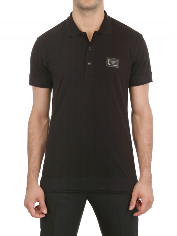8baf28933 Dolce & Gabbana Logo Plaque Pique Cotton Polo Shirt in Black for Men ...