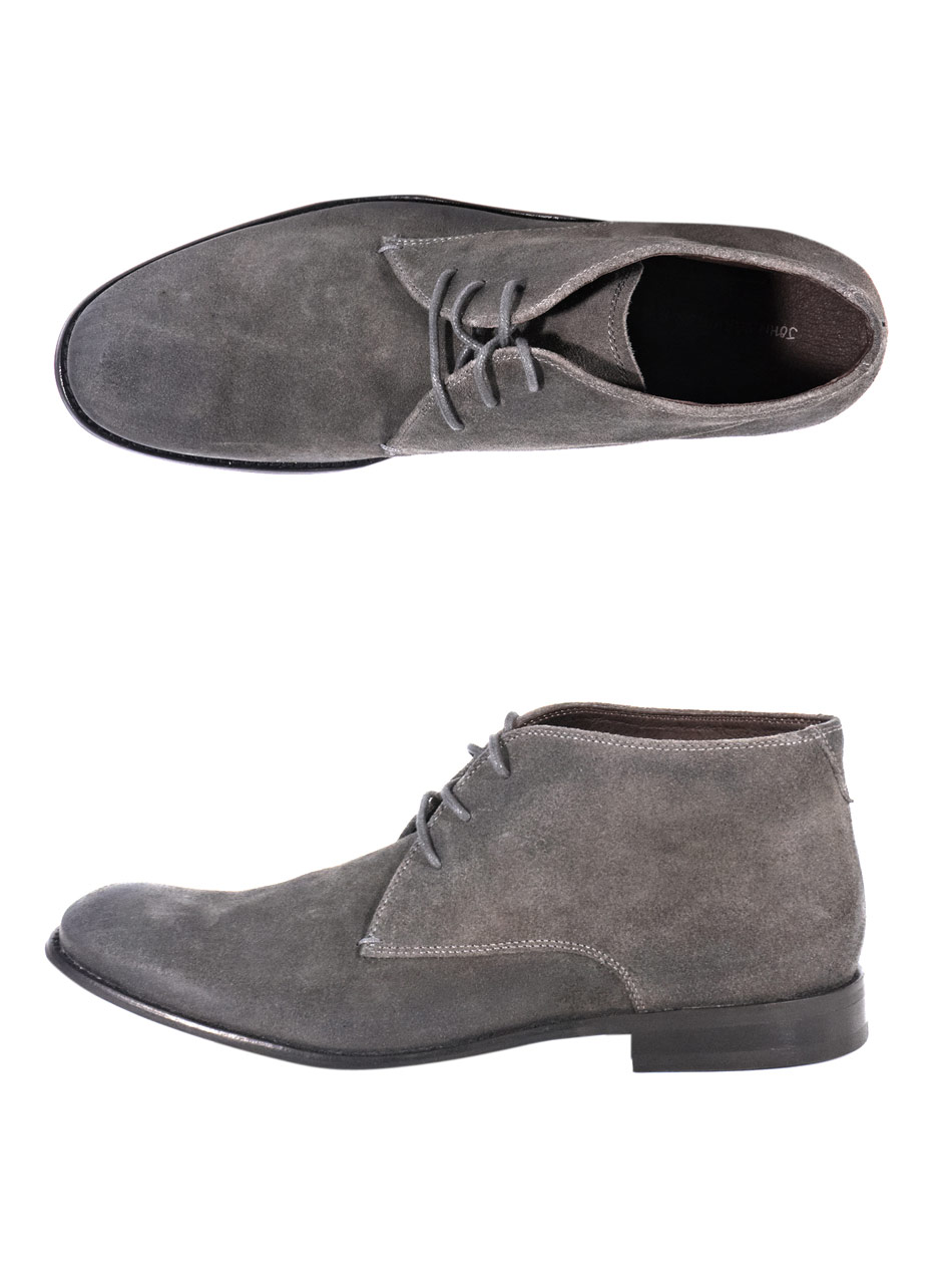 varvatos distressed suede buck chukka boots in gray