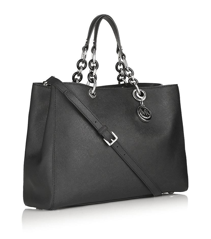 MICHAEL Michael Kors Leather Handbag in Gold (Black)