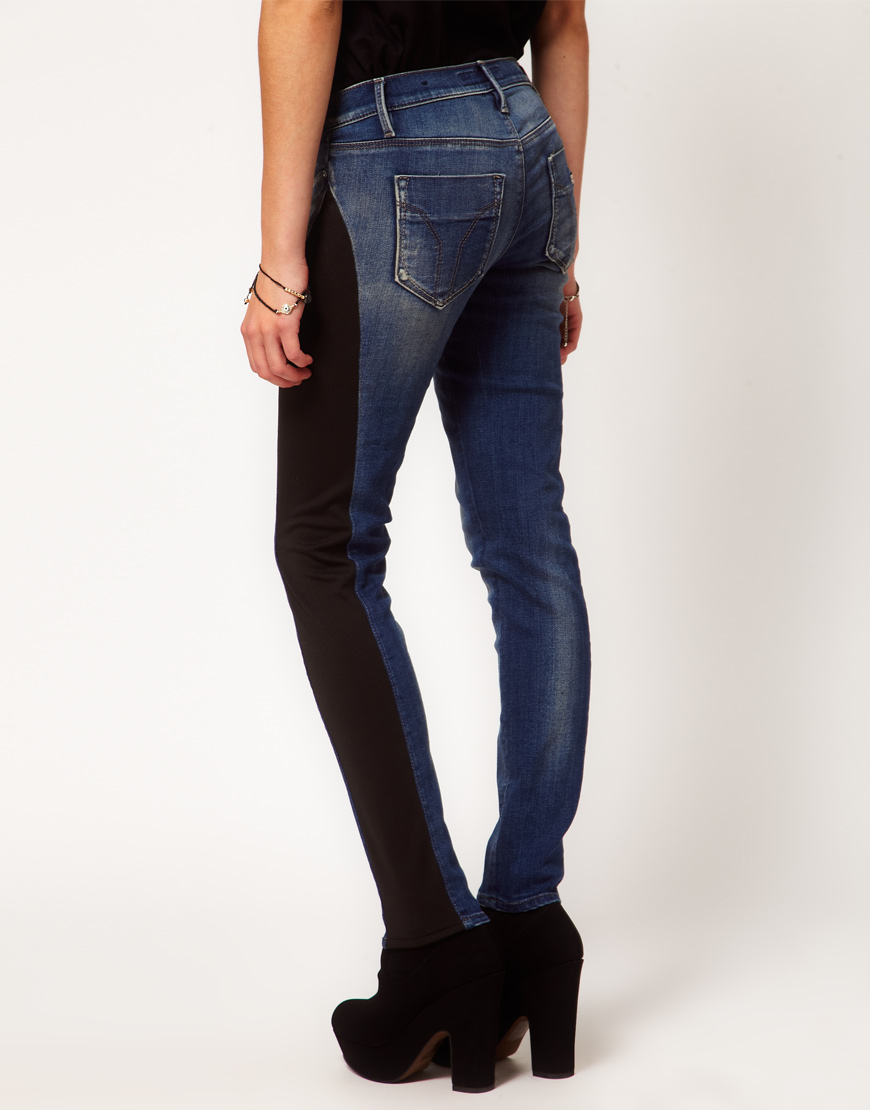lyst miss sixty irene skinny jeans with jersey side. Black Bedroom Furniture Sets. Home Design Ideas