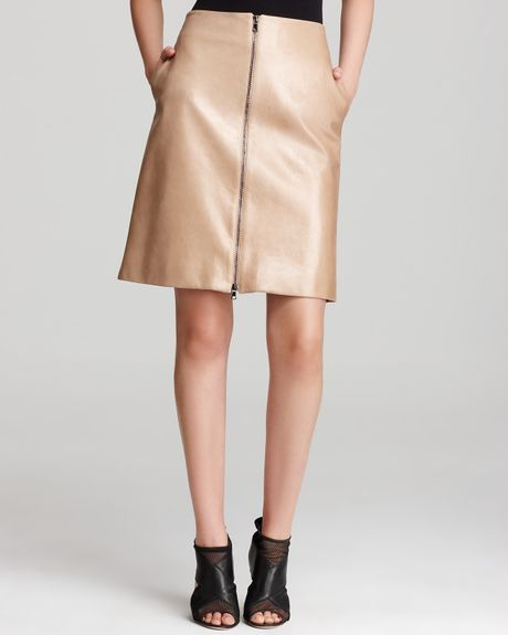 robert rodriguez zip leather skirt in beige lyst