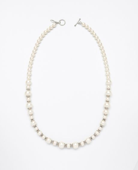 Ann Taylor Long Pave and Pearlized Bead Necklace in Silver