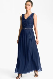 Donna Morgan Belted Silk Chiffon Gown - Lyst