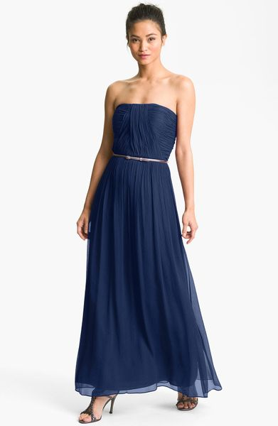 Donna Morgan Ruched Silk Chiffon Gown in Blue (midnight) - Lyst