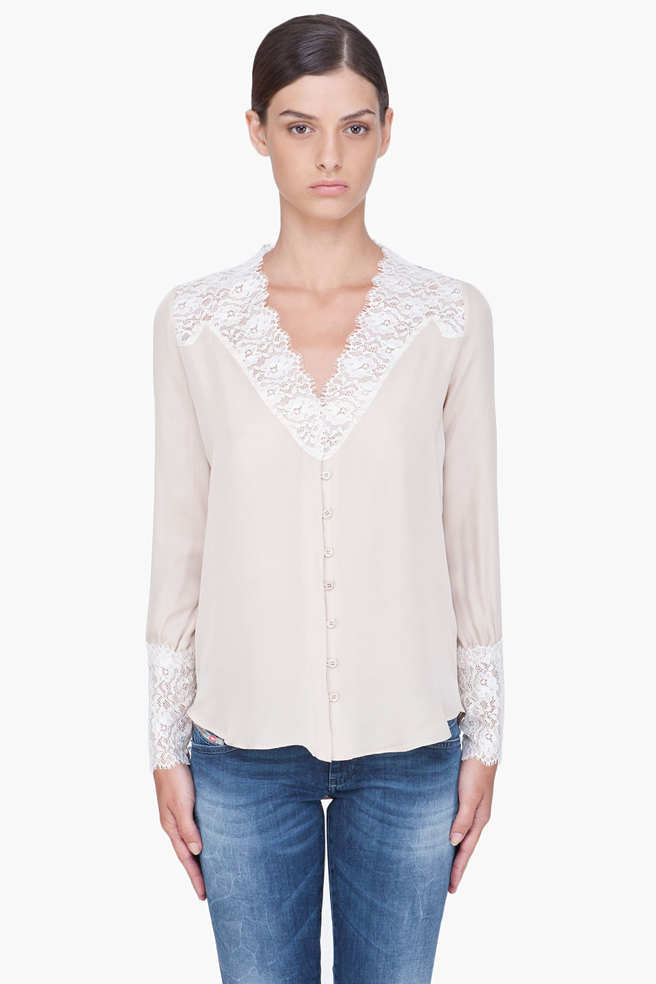 Brilliant Zando Women Clothing Tops Blouses Assuili Pussybow Blouse Taupe