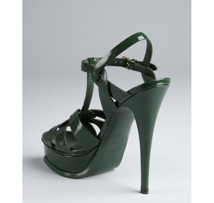 Saint laurent Tartan Green Patent Leather Tribute 105 Tstrap ...