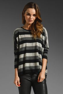 Autumn Cashmere Boxy Mixed Stripe Tee in Black-bankers Grey-birch - Lyst