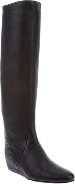 Lanvin Concealed Wedge Boots in Black - Lyst