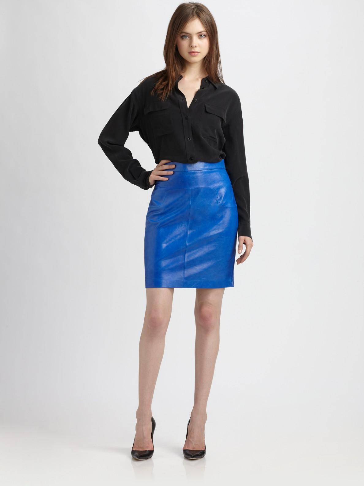 Robert rodriguez Highwaist Leather Skirt in Blue   Lyst