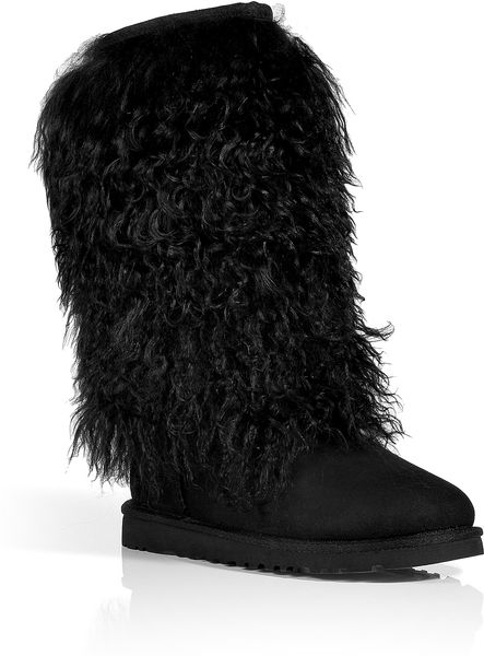 Ugg Black Classic Tall Sheepskin Cuff Boots in Black