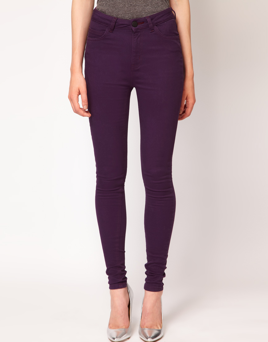 Lyst Just Female Coloured High Waisted Skinny Jeans In