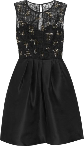 Lela Rose Beaded Lace and Organza Dress in Black