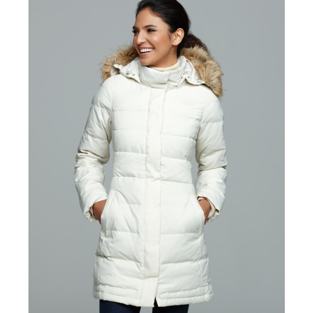 ... new zealand lyst the north face yume faux fur hooded down puffer in  white 010ee e52a3 e0a8cd603