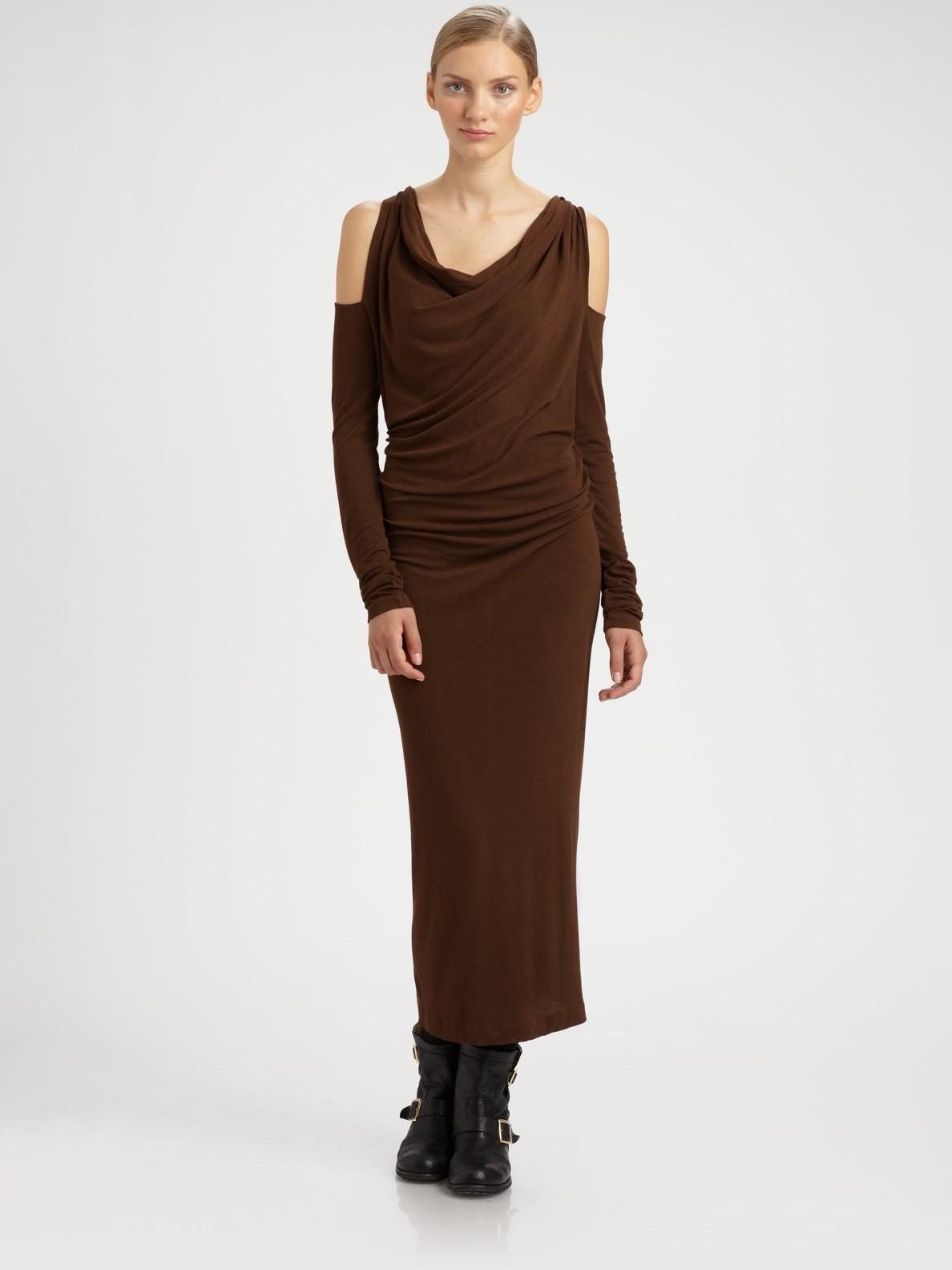 Donna karan new york cold shoulder dress in brown for Donna karan new york
