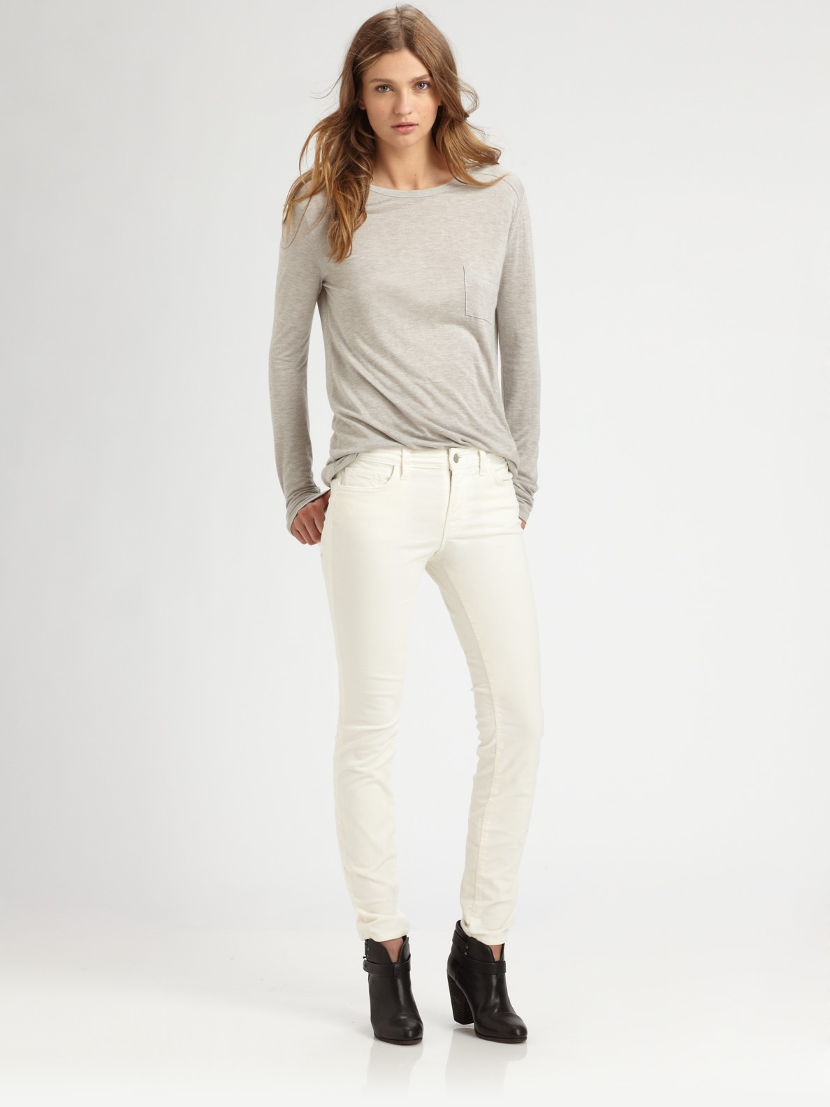 J Brand Midrise Corduroy Skinny Jeans In White