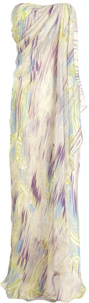 Matthew Williamson Fractured Swirl Chiffon Draped Column in Purple (mauve)