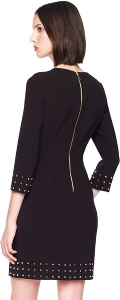 Michael Kors Studtrim Crepe Dress in Black