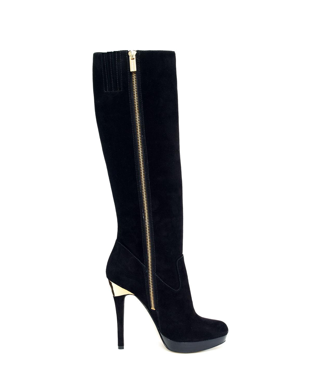 michael kors york suede knee boot in black lyst