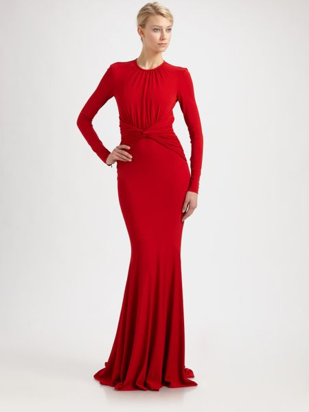 Michael Kors Jersey Goddess Gown in Red (bordeaux)