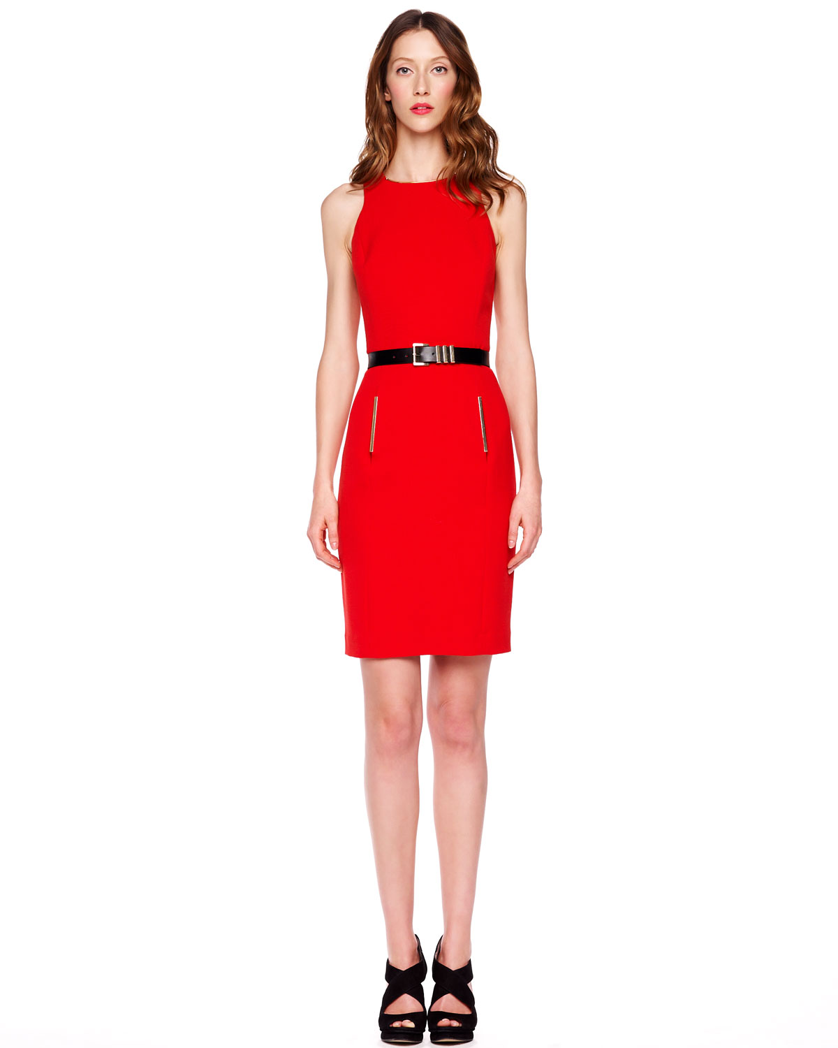 michael kors belted crepe dress in lyst