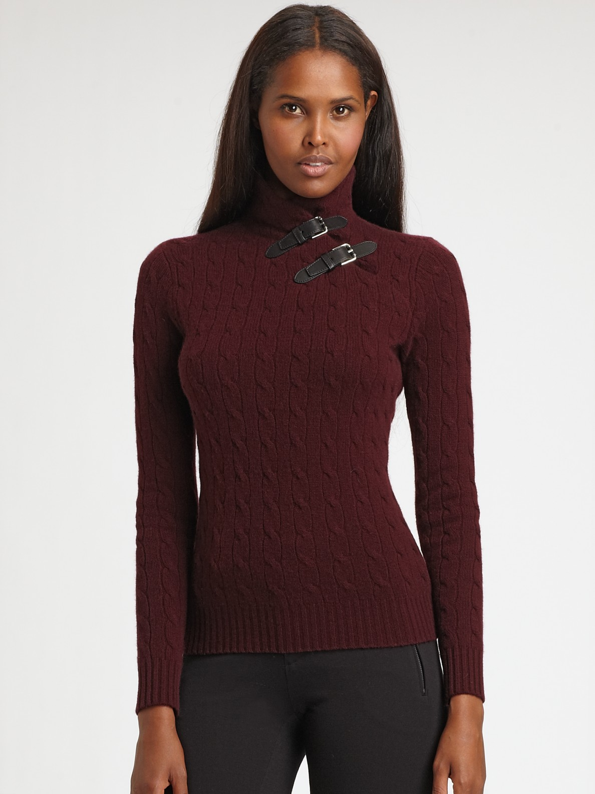 b85d9f4a8 Ralph Lauren Black Label Cashmere Buckle Sweater in Red - Lyst