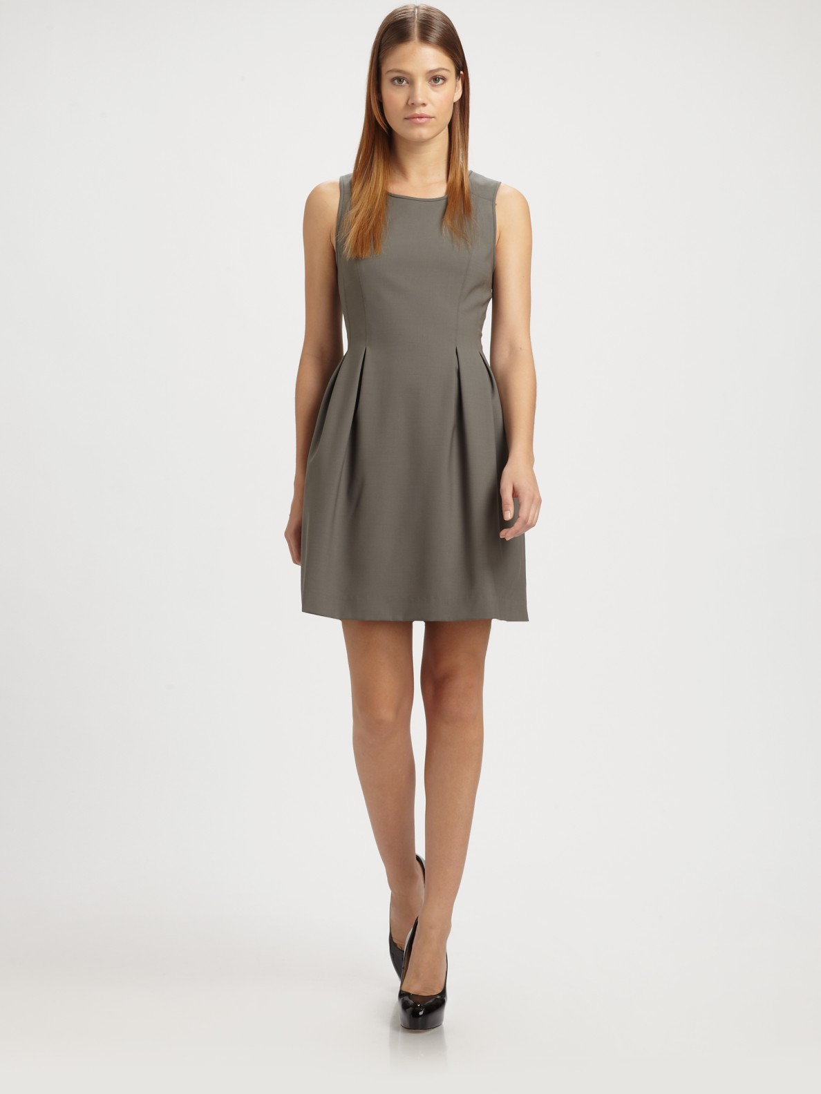 Theory Cahissa Pleated Dress In Silver Gray Lyst