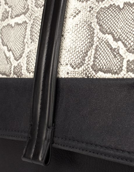 Zara City Bag With Snakeskin Flap In Black Lyst