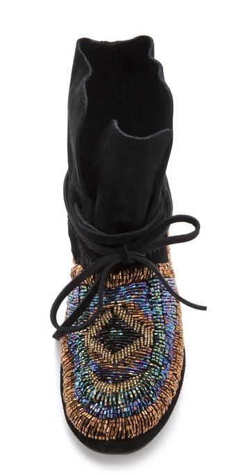 House Of Harlow 1960 Madison Beaded Moccasins In Black Lyst