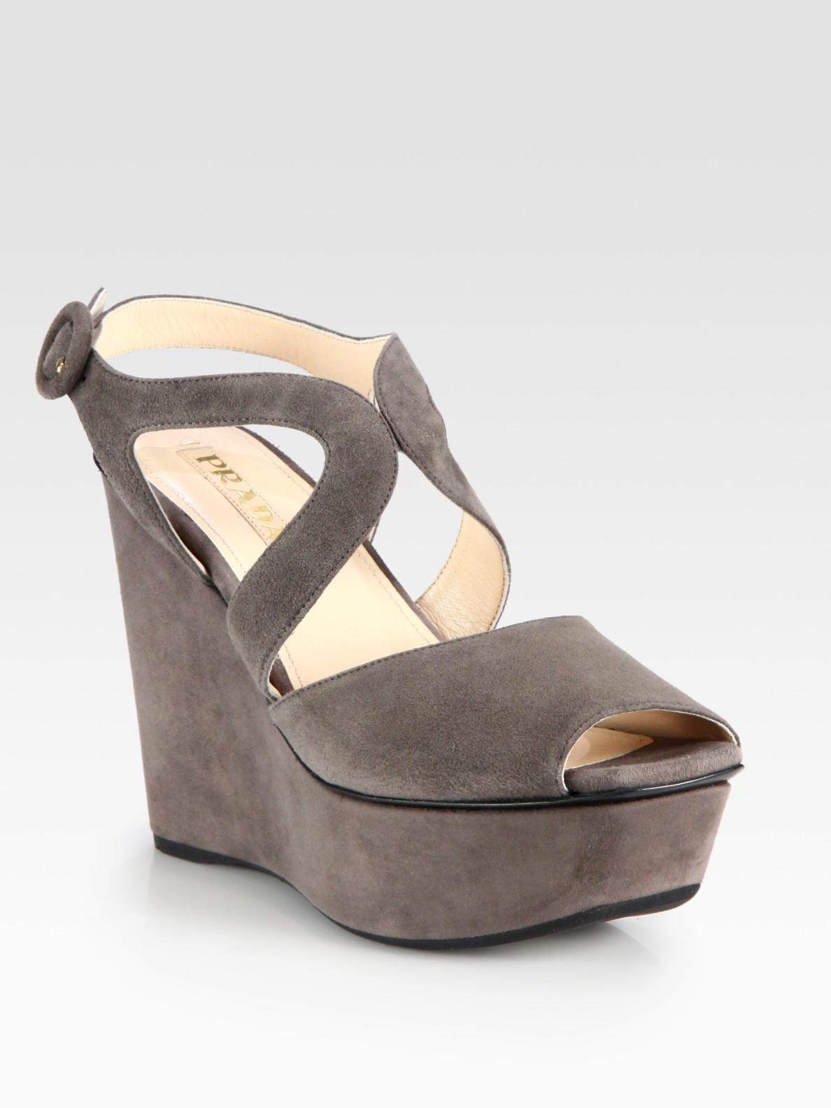 prada suede wedge sandals in gray grey lyst