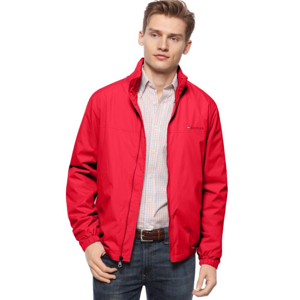 Tommy Hilfiger Sport Tek Packable Bomber Jacket In Red For